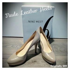 Nude Tan Leather Platform Heels Pumps